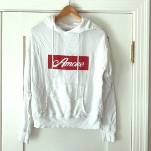 Mate for Anthropologie Amore Red & White Hoodie S